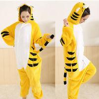 Yellow Tiger Pajamas Adult Anime Cosplay Costume unisex Onesie sleepwear Cartoon Animal Sleepsuit Free Shipping