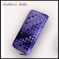 Hot!!! Women Casual Clutch Sheepskin knitting zipper purses Genuine Leather Day Clutch wallet  women bag CH006