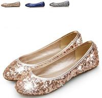 2015 spring Fashion NEW MS Lady Shoes Sequins round head Shallow  Leisure women flat shoes flattie plus size 34-41