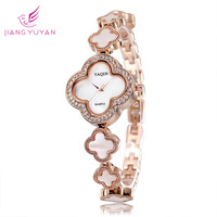 Fashion Bracelet  Watch Women Casual Clocks Quartz Flower Rhinestone Watches Rose Gold Silver Wristwatches
