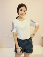 Free shipping women shirt summer fashion Embroidery Pattern designer T-shirt,Casual tops Pullover clothes Plus Size white/black
