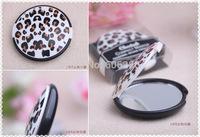 Wholesale Festive Supplies bridal shower favor cheetah compact mirror wedding souvenirs pocket cosmetic mirror gifts 100pc/lot