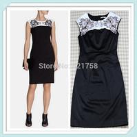 [REAL SHOT] Free shipping Luxury Women Flower Embroidery Pencil Dress Vestidos Elegant Round Neck Bodycon Dresses