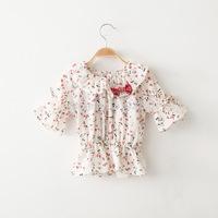 New 2015 Children Summer Clothing Girls T-shirts Children T-shirt Baby Girls  Floral Tees Cute Kids Top Wear Child Outerwear