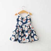 New 2015 Children Summer Clothing Girls Dresses Baby Girls  Floral Dress Sleeveless Fashion Kids Dress Child Outerwear