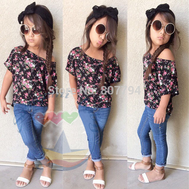 children girls clothing sets flower tshirt jeans cool baby kids