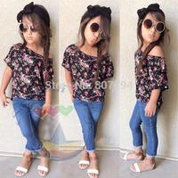 freeshipping!New 2015 UAS BRAND cute summer children girls clothing sets flower tshirt + jeans cool baby kids 2pcs suit 7set/lot
