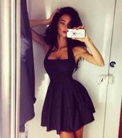 2015 New  Halter Vintage Sleeveless  Slash Neck Black Blue Summer Desigual Sexy Vestidos Femininos Party Mini Casual Dress
