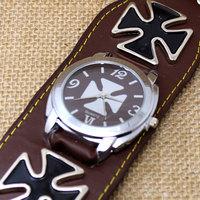 2015 Fashion Steampunk Men's Watch Square Retro Leather Bracelet Cross Hand Hours Reloj De Homber Q25011-12