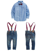 freeshipping!2015 BRAND New Fashion Boys Clothes Sets Casual Kids Clothing Set Boys Suit ( T shirt + Jeans + Belt ) 3 pcs Sets