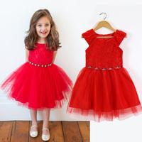 2015 Summer Girls Fantasy Red Rhinestone Dress Princess Dress Kids Clothes Free Shipping 5PCS