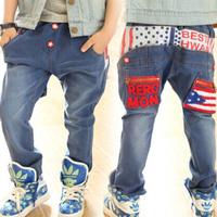 Aones 2015 Children's Denim Long Pants Clothing Elastic Belt Boy's Jeans Autumn Spring Letter Printed Kids Casual Trousers P109