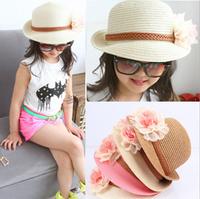 New Flower Baby Sun Hats Kids Straw Fedora Hat Baby Caps Girls Sun Hat Children Summer Hat