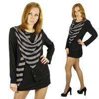 Plus size 2015 Fashion Casual Women t-shirt o-neck Tops Stripe stitching Long Sleeve Shirt Free Shipping 6xl Tonsee 3348