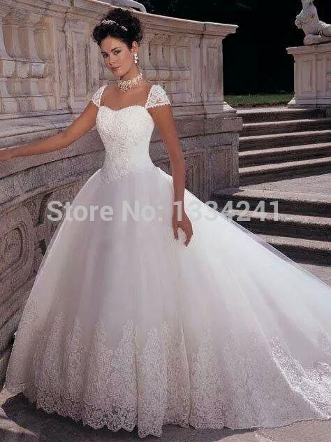 Vestido Casamento 2015 Ruffles Long Train Queen Anne Neckline Royal Wedding Dress Bridal Ball Gowns(China (Mainland))