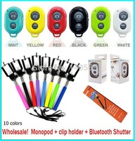 500sets/lot (500pcs Z07-1 Monopod+500pcs phone holder +500pcs Bluetooth Shutter )for iPhone 4S 5S Samsung Android S3 S4 S5 Note3