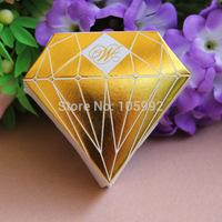 50 pcs Diamond candy box chocolate box Wedding Party paper diamond box wedding favor shower free shipping