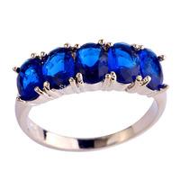 Splendide Women Party Jewelry Blue Sapphire Quartz 925 Silver Fashion Ring Size 6 7 8 9 10 New Fashion 2015 Free Shipping