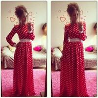 2015 New European Fashion Dot Printed O Neck Slim Long Sleeve Women Dress Quality Stylish Hot Sale Long Dress In Spring