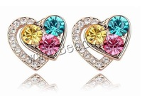 Free shipping!!!Crystal Earrings,Wedding Jewelry, Zinc Alloy, with Crystal, stainless steel post pin, Heart