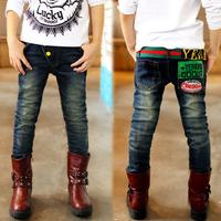 Aones Boy's Denim Blue Pants Elastic Belt Letter Printed Brand Kids Boy Jeans Autumn Spring Children's Casual Long Trousers P111
