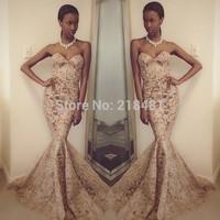 2015 new arrival hot corset mermaid lace evening dresses floor length sweetheart long elegant prom dresses custom made