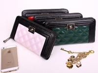 2015 Vantage Women Genuine Leather Cowhide wallets Famous Brand Designer Zipper Thread Money Purse Free Shipping