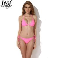 LEEF Free Shipping 1 Set High Quality Sexy Women's Neoprene Bikini Neoprene Swimsuit Set ( Top + Bottom ) Women Pink Biquini Set