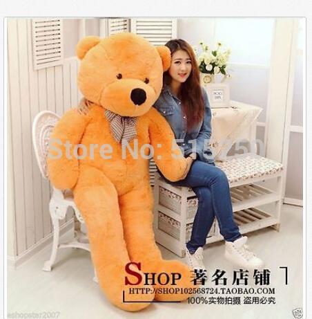 "HOT!100% HUGE SOFT NEW GIANT BIG PLUSH ""light brown ""TEDDY BEAR 180cm+EMS shipp(China (Mainland))"