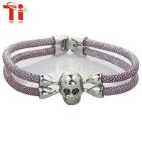HOT SALE 2015 New Arrival Luxury Women Men Thailand Stingray Bracelet stainless steel Skull Head Leather Bracelet