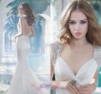 Bridal Grown Fashion Sexy V-neck Sleeveless Backless Satin Floor-length Court Train Mermaid Long Wedding Dresses 2014_bridalk