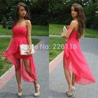 Vestido Longo Vestido De Festa Hot Selling Colour High-low Off The Shoulder Sweetheart Up Chiffon Short Evening Dress_bridalk