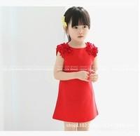 2015 new children clothing retail wholesale summer girls vest dress princess dress fashion sleeveless dress Free shipping