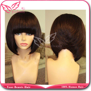 For Black Women,Full Lace Bob Wig Virgin Lace Front Wig With Bangs