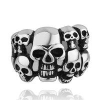 Men's Punk Ring 316L Stainless Steel Vogue Skull Rings For Women!Free Shipping!GMYR001