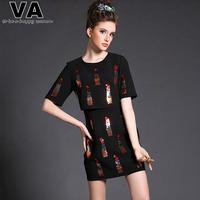 Women 2015 High Quality Spring Summer Sexy Casual Black Mini Sequined Dresses vestidos femininos Plus Size XXXL 4XL 5XL P00150