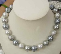 AAA Elegant 10mm white black Gray Shell Pearl Necklace
