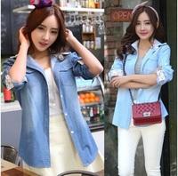 Dropshipping!2015 European American style Autumn Women blusas lace Denim shirt slim Blouse