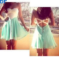 Backless Beach Casual Dress Lace Patchwork Chiffon Women Dress Vestidos 2015 Strapless Cool Women Summer Dress Free Shipping DF