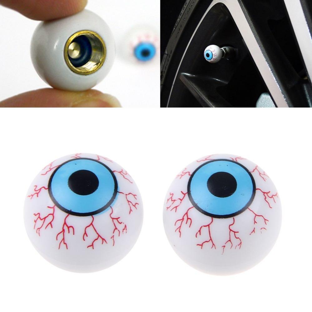 New 2Pcs/Lot Creative Eye Ball Pattern Auto Wheel Valve Air Stem Cap Cover Tire Screw Dust Plug for Car Truck Bike(China (Mainland))