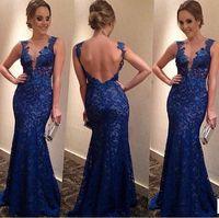 2015 Fashion Blue Evening Dress Womenvestidos Floor-Length Long Lace Dresses Deep V-Neck Hollow Out  Elegant Party longos Dress