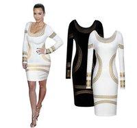 2015 Winter Vestidos Casual Dress women Slim winter long-sleeved dress sexy foil print fashion dress