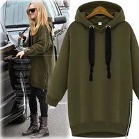 Hoodies Women Plus Size XXL Relaxed Long Sleeve Hooded Long Sweatshirt Woman Autumn Winter Hoodie Tracksuit 2015