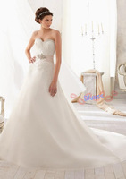 2014 Real Limited Delicate With Ribbons Sleeveless Off The Shoulder Floor-length Sweetheart A-line Wedding Dress Vestidos_bri