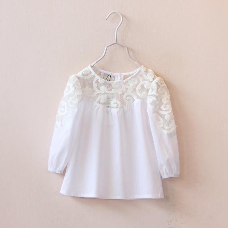 Блузка для девочек Hollow lace 2015 howllow white blouse