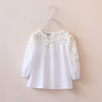 2015 new spring summer foreign trade baby girls howllow lace patchwork white blouse girl cotton long-sleeve boutique shirts