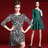 Fashion women's miuco2015 vintage fashion print slim waist slim umbrella one-piece dress