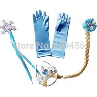Wholesale 30set/lot Elsa Anna Christmas Girls Accessories Magic Wand+Rhinestone Hair+Crown+Glove+Hair Braid for Party Free Ship