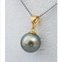 tahitian AAA+10mm tahitan silver gray shell Pearl pendant 14k Buckle