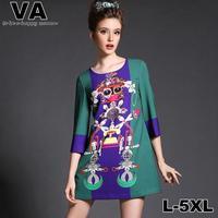 Women 2015 New Brand High Quality Casual Print Mini O-Neck Vintage Plus Size 4XL 5XL Dresses vestidos femininos verao P00137